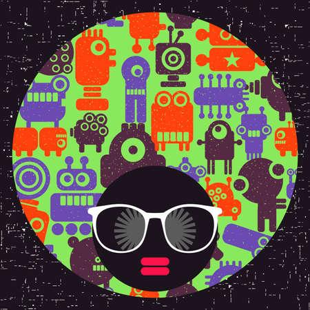 Jeune fille afro à la peau foncée et turban créatif sur la tête. Vecteurs