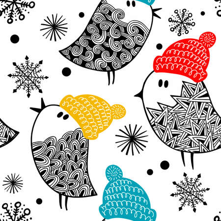 Seamless pattern with cute doodle birds in colorful warm hats. Vector illustration for decorating. Illustration