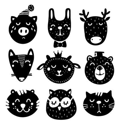 Cute set of black and white animals heads drawing in scandinavian style.