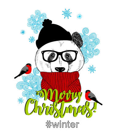 Merry Christmas card with funny panda animal in modern hipster style. Vector illustration for winter holidays.