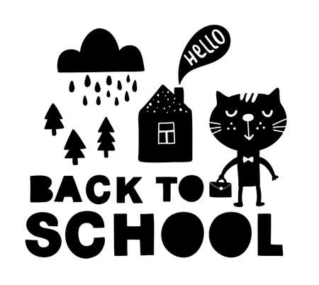 Back to school traditional poster with cat cute animal. Vector illustration in black and white scandinavian style. Simple hand drawing for children.