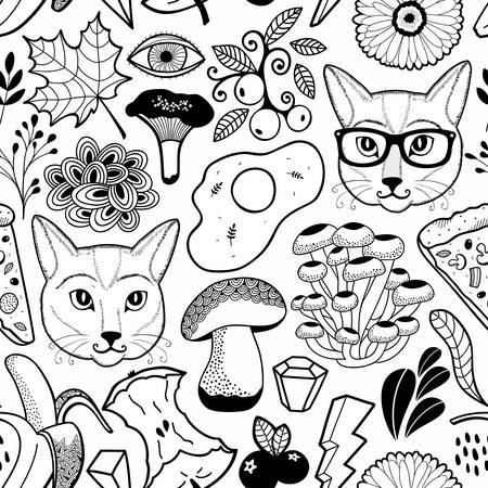 Black and white endless wallpaper with hipster cats and autumn mushrooms. Vector seamless background of flora and fauna. Cute doodle hand drawn images.