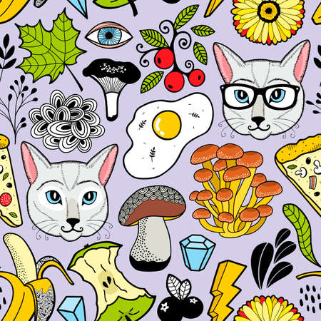 Seamless pattern with hipster cats and autumn mushrooms. Vector endless background of flora and fauna. Cute doodle hand drawn images.