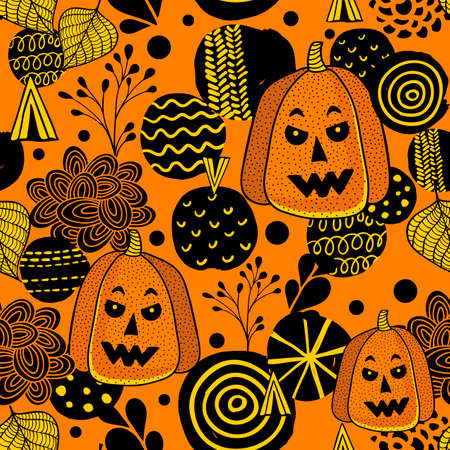 Decorative seamless pattern with autumn pumpkins and leaves.