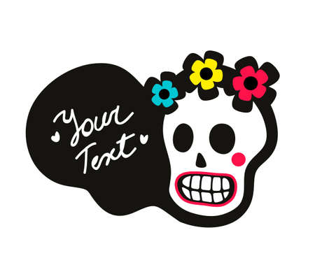 Cute sugar skull with flowers on the head. Colorful illustration in vector of dead human face and shadows.