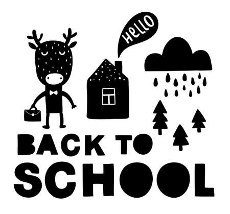 Back to school traditional poster with deer cute animal. Vector illustration in black and white scandinavian style. Simple hand drawing for children.  イラスト・ベクター素材