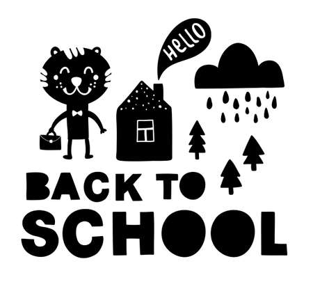 Back to school traditional poster with tiger cute animal. Vector illustration in black and white scandinavian style. Simple hand drawing for children. Illustration