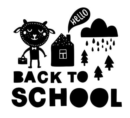 Back to school traditional poster with sheep cute animal. Vector illustration in black and white scandinavian style. Simple hand drawing for children.