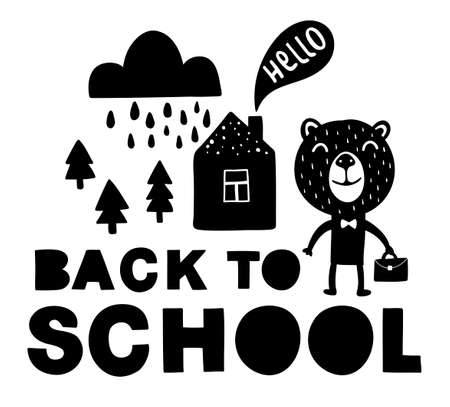 Back to school traditional poster with bear cute animal.
