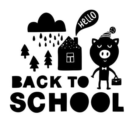 Back to school traditional poster with pig cute animal.