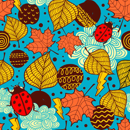 Endless background with colorful autumn leaves. Vector art.