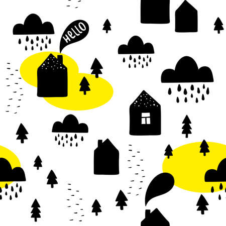 Seamless pattern with black houses on the white background. Vector illustration in scandinavian style for decorating. 일러스트