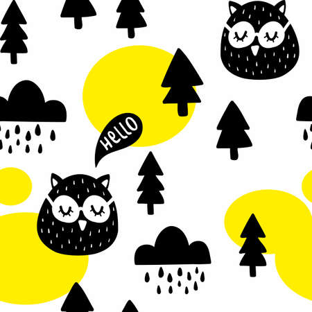 Seamless pattern with cute owl birds in the woodland. Vector illustration in scandinavian style for decorating. Illustration