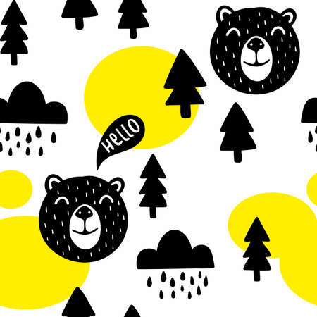 Seamless pattern with cute bears and trees. Vector illustration in scandinavian style for decorating.