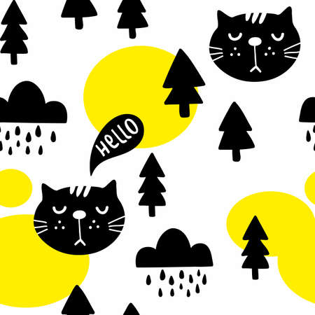 Seamless pattern with cute cats in the autumn forest. Vector illustration in scandinavian style for decorating.
