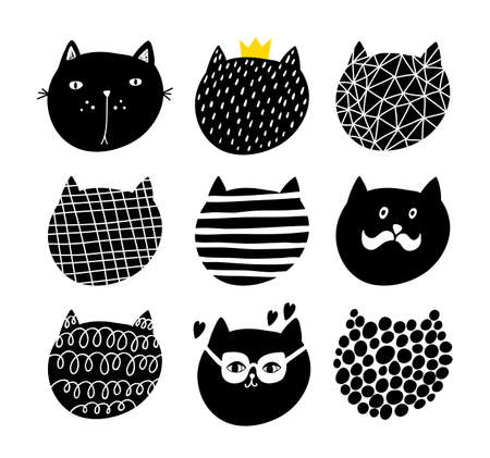 Cute set of cats faces in scandinavian stile. Vector collection of animals heads. 일러스트