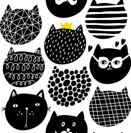 Decorative seamless pattern with cute funny cats faces. Vector illustration with animals.