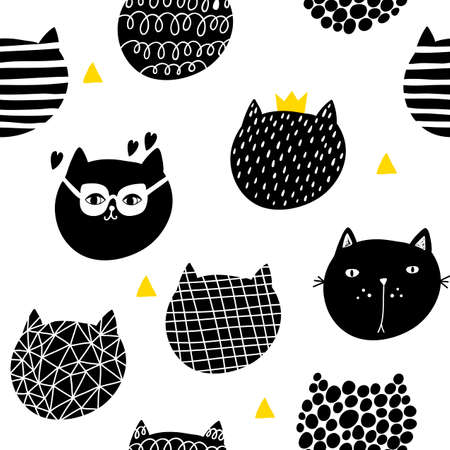 Seamless wallpaper with cute cats heads. Vector endless pattern for decorating.