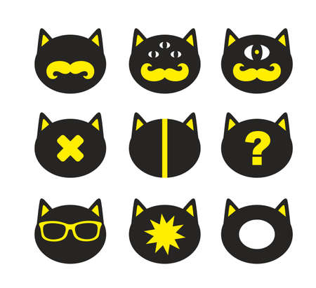 Set of fantastic cats in retro style.