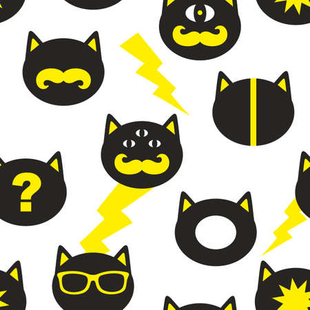 Creative seamless background with fantastic cats. Vector endless pattern.