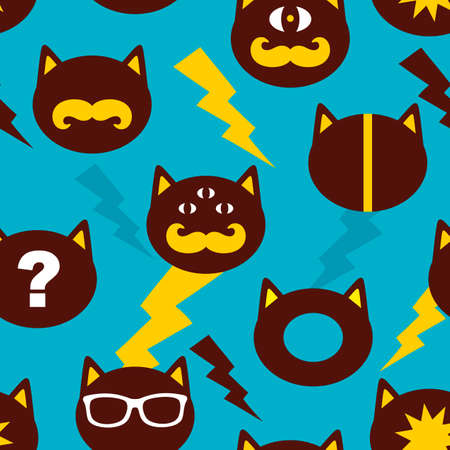 Colorful background with cats faces in retro style. Vector endless backround. Ilustração