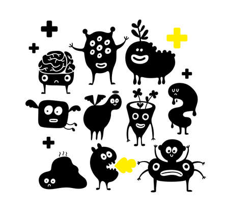 Set of halloween black monster silhouettes isolated on white background. Cute funny scary cartoon creatures in vector. Illustration