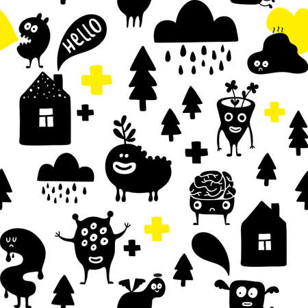 Funny monsters in the night. Creative simple pattern.