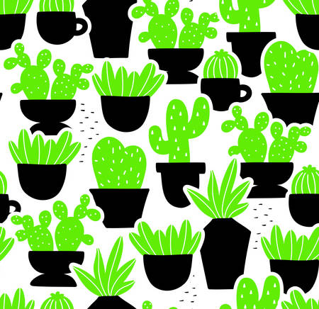 Creative seamless pattern with home plants in hand drawn style. Vector endless illustration.