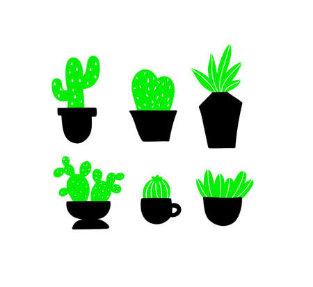 Set of black and green home plants. Vector collection of images in simple scandinavian style.