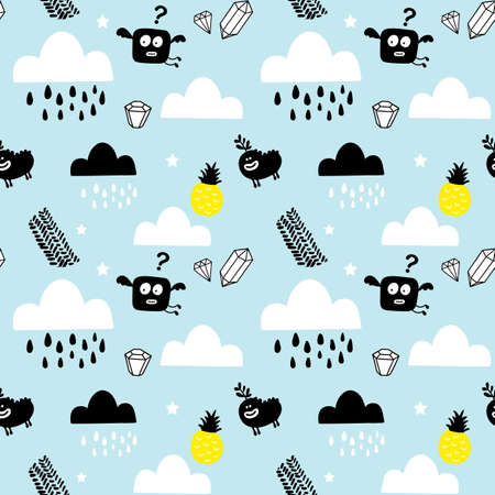 Scandinavian style seamless pattern with pineapples and cute monsters . Illustration