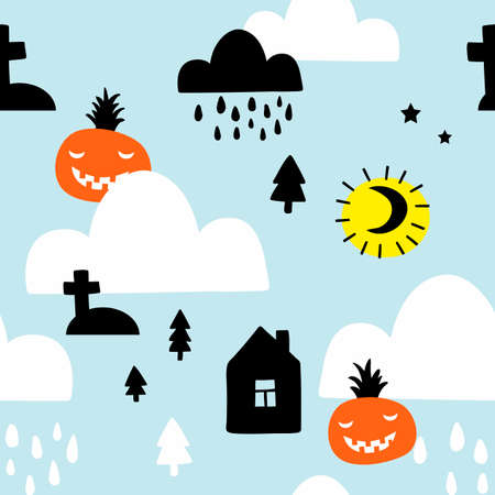 Scandinavian style seamless pattern with pumpkins for halloween and night sky. Illustration