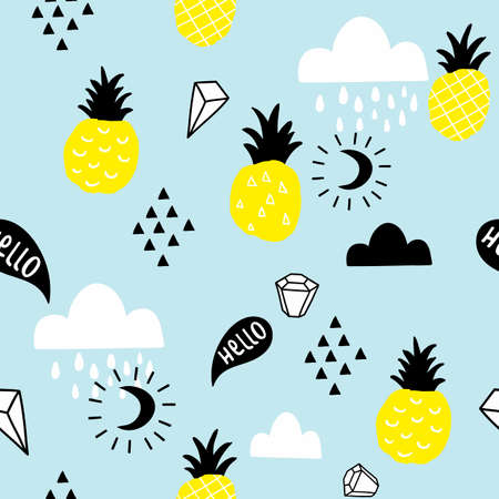 Scandinavian style seamless pattern with hand drawn pineapples and doodle clouds. Illustration