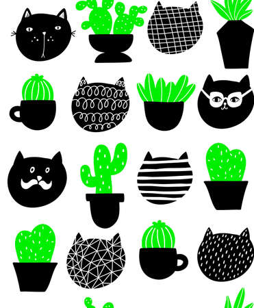 Cats and home plants vector pattern. Seamless pattern of pets and green flora. Ilustração
