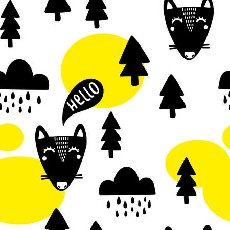 Seamless pattern with funny fox in the woodland .