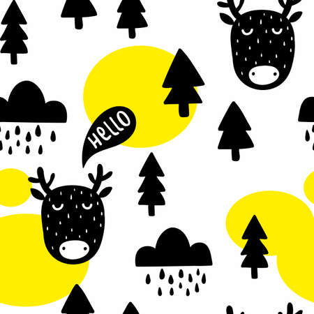 Seamless pattern with cute deer and trees in the forest. Illustration