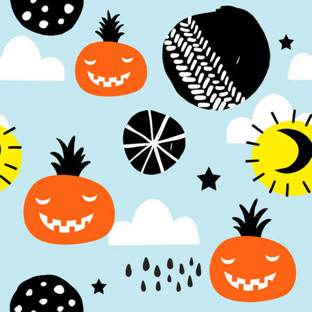 Seamless pattern for halloween party decoration. Vector art.