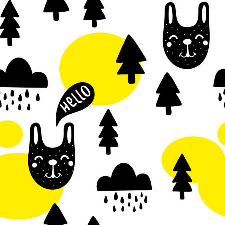 Seamless pattern with cute black animals and forest trees. Vector illustration in scandinavian style for decorating.
