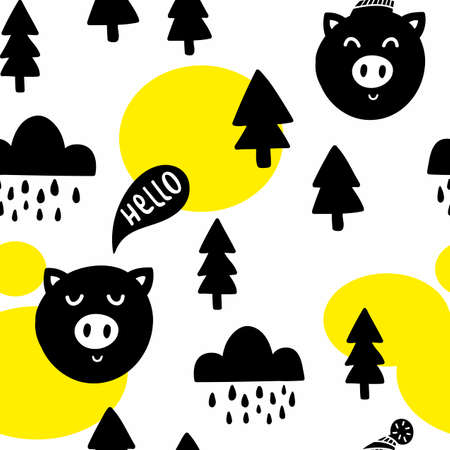 Seamless pattern with cute pigs in the forest. Vector illustration in scandinavian style for decorating.