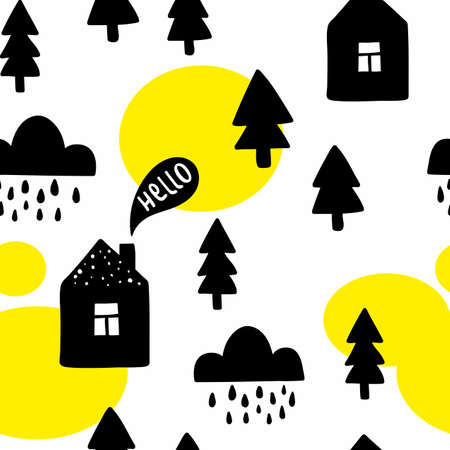 Seamless pattern with cute buildings and trees.