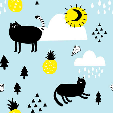 Seamless pattern with cats in the sky. Illustration