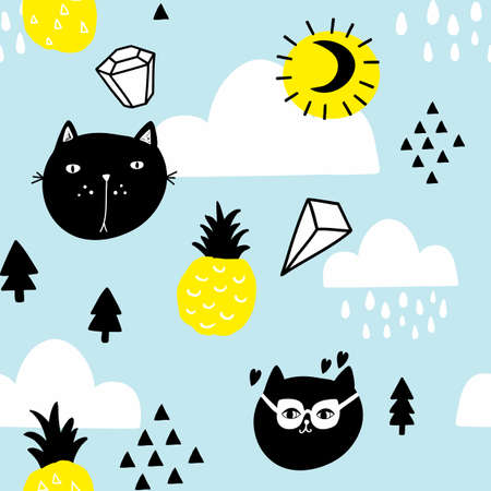 Scandinavian style seamless pattern with pineapples and cats in the sky.