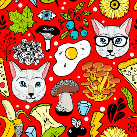 Seamless pattern with white cats in glasses and food.