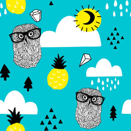 Seamless pattern with doodle owls in eyeglasses and diamonds in the sky.