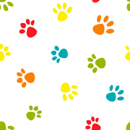 Seamless pattern with colorful footprints on white background. Standard-Bild - 124950214