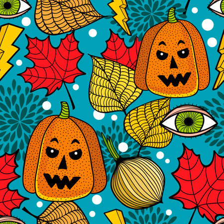 Seamless pattern with halloween pumpkins and colorful autumn leaves. Illustration