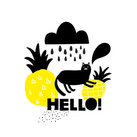 Card cover with hello message and black cat. Ilustracja