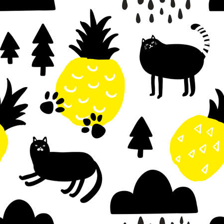Seamless pattern with yellow pineapples and cute black cats.