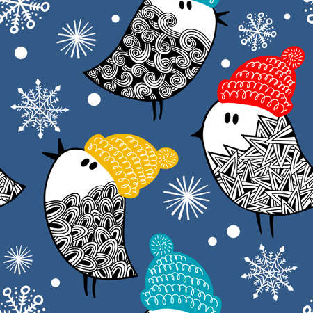 Endless pattern with doodle birds in snow.