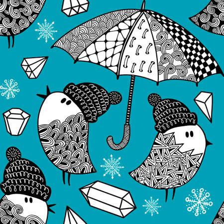 Seamless wallpaper with birds and umbrella. Vector art.