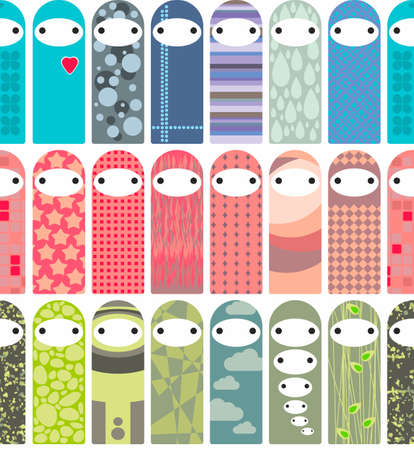 Seamless pattern with cute liyyle dolls in korean kawaii style. Vector endlessbackground.